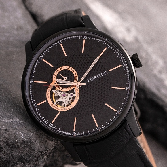 35116bfd6 NWT All Black Automatic Genuine Leather Band Watch. Boutique. Heritor  Automatic